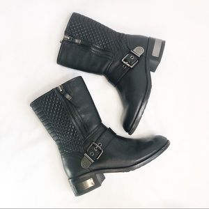 Vince Camuto Whynn Quilted Moto Boots Blac…